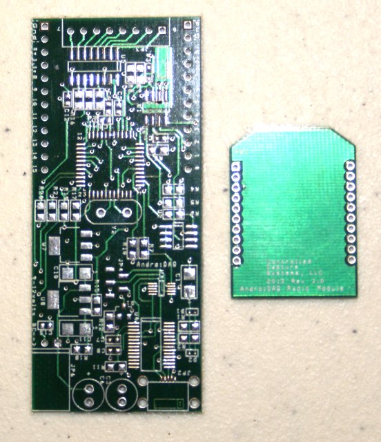 Bare AndroiDAQ circuit board                      with bare xBee radio compatible circuit board -Bare Boards with Parts List supplied.